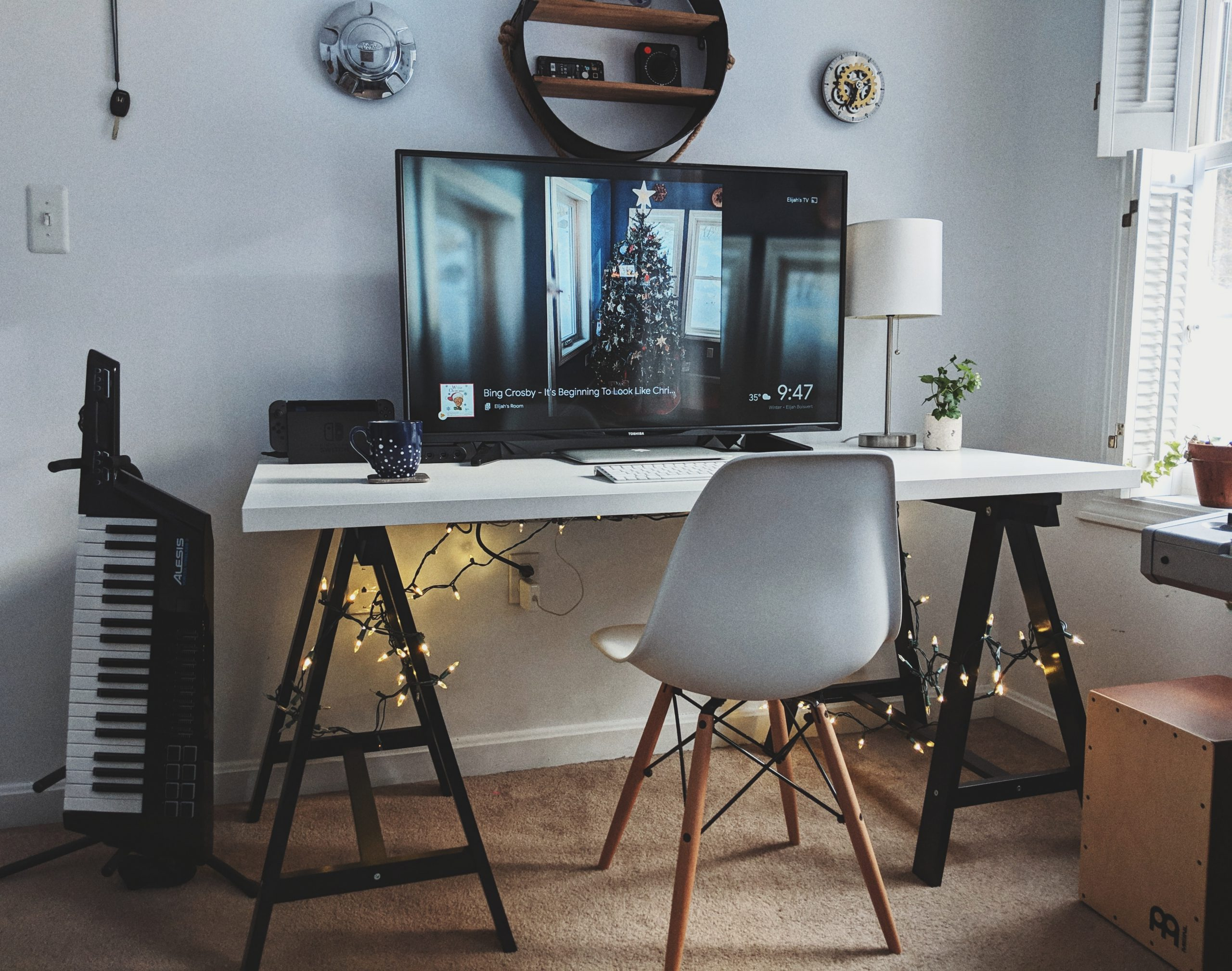Home Office Desk at Christmas Time