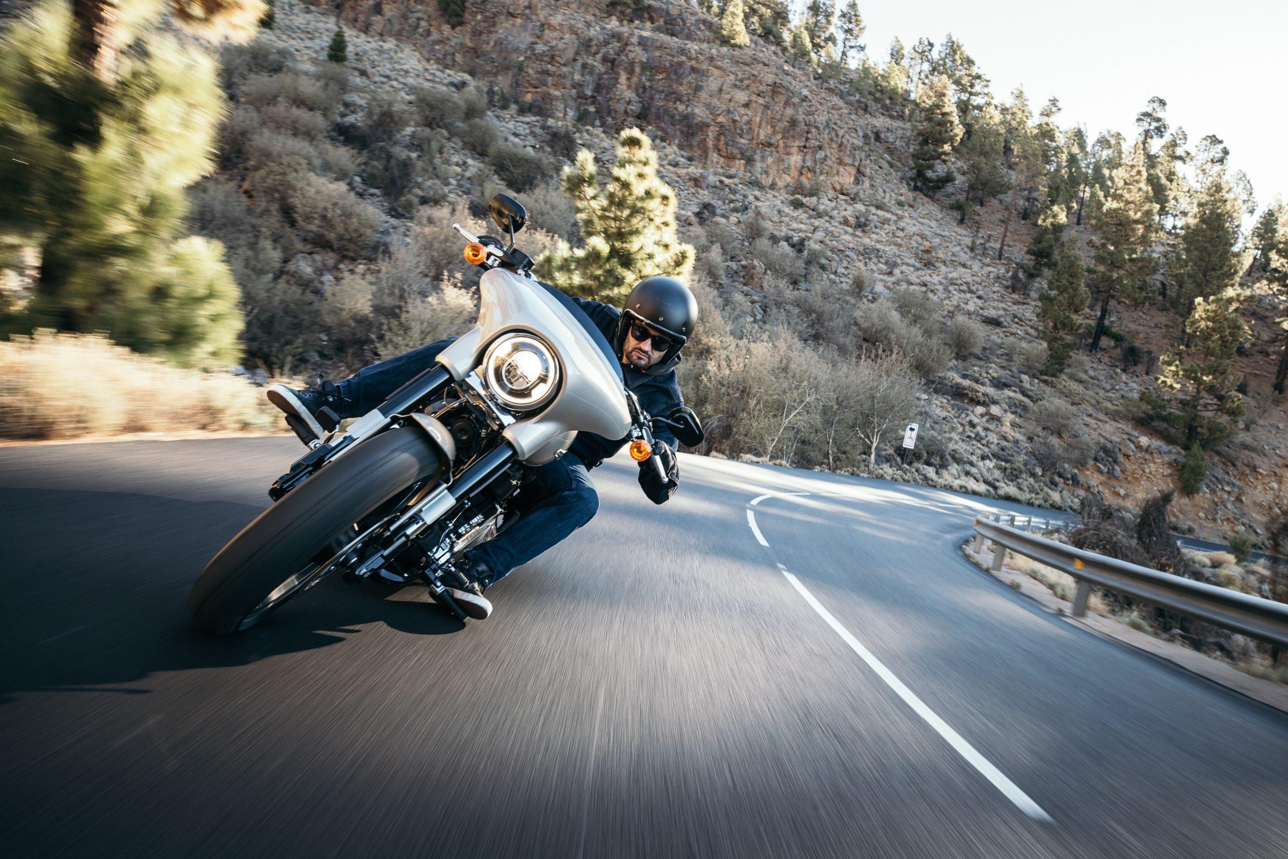 Man riding speeding Motorcycle