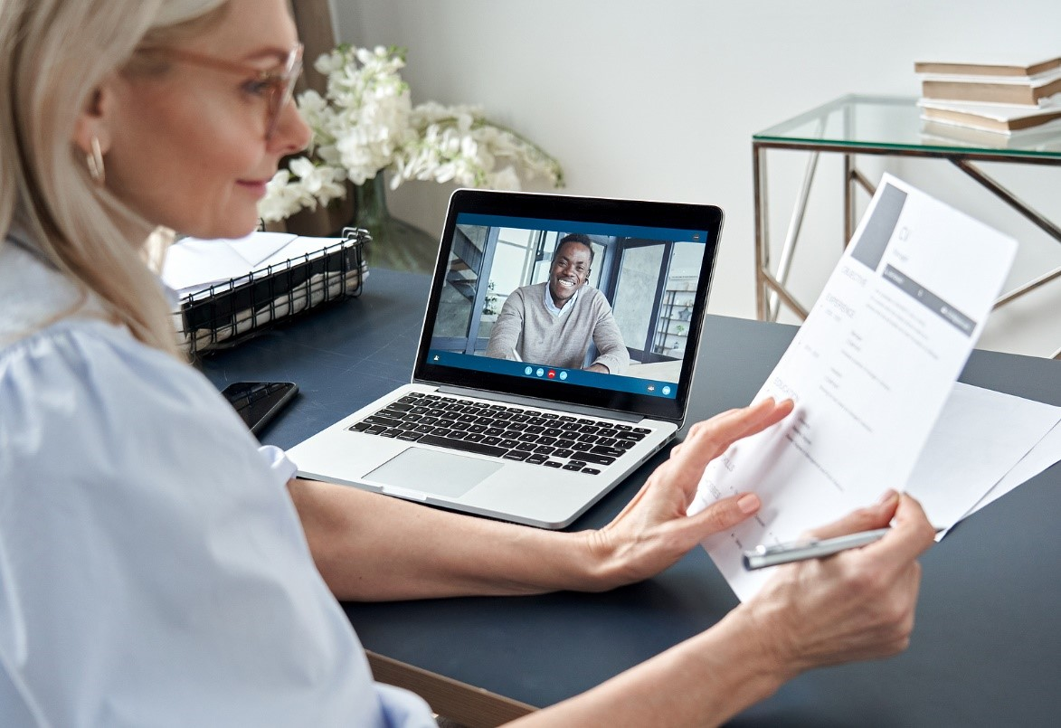 Recruitment Consultant conducting online video interview