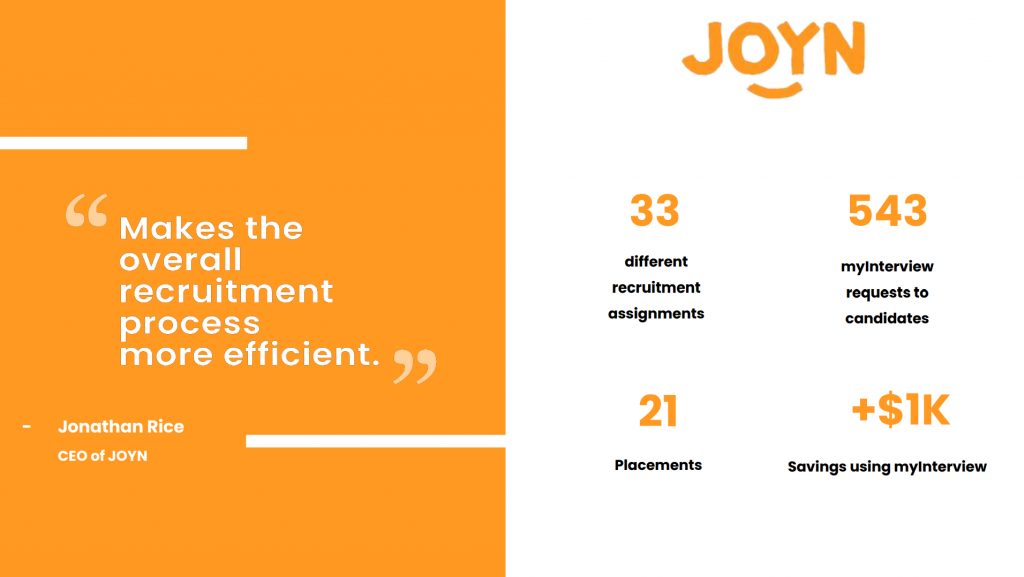 Stats showing the cost savings gained when using video screening and JOYN